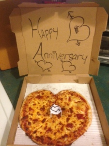 The pizza I sent my boyfriend for our 6 month anniversary. I was 3 time zones away in California at the time.
