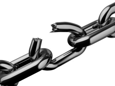 Conceptual broken chain isolated on white background - rendered in 3d