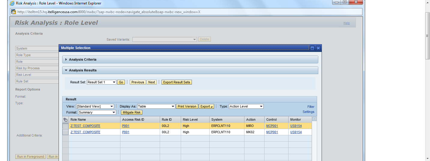 GRC AC 10.0: Running Role-Level Risk Analysis on a Composite Role ...